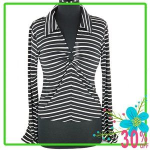 Vintage Top Black and White Stripes Bell Sleeves